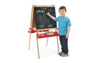 competitive Melissa & Doug Deluxe Magnetic Standing Art Easel With Chalkboard, Dry-Erase Board, and 39 Letter and Number Magnets cheap reasonable