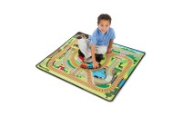 reasonable Melissa & Doug Round the Rails Train Rug With 3 Linking Wooden Train Cars (39 x 36 inches) cheap competitive