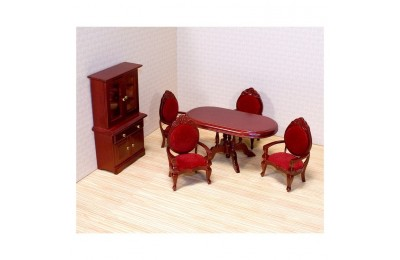 reasonable Melissa & Doug Classic Wooden Dollhouse Dining Room Furniture (6pc) - Table, Armchairs, Hutch cheap competitive