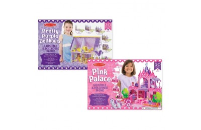 competitive Melissa And Doug Pretty Purple Dollhouse And Pink Palace 3D Puzzle 200pc cheap reasonable