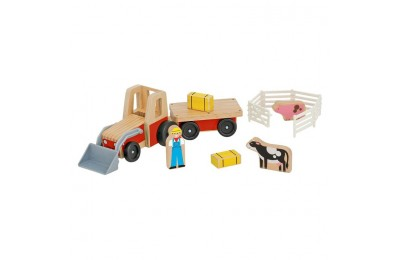 reasonable Melissa & Doug Farm Tractor Wooden Vehicle Play Set (5pc) competitive cheap