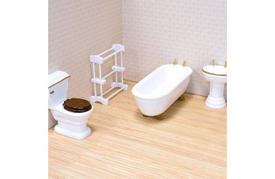 reasonable Melissa & Doug Classic Wooden Dollhouse Bathroom Furniture (4pc) - Tub, Sink, Toilet, Towel Rack cheap competitive