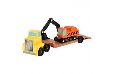 reasonable Melissa & Doug Trailer and Excavator Wooden Vehicle Set (3pc) cheap competitive