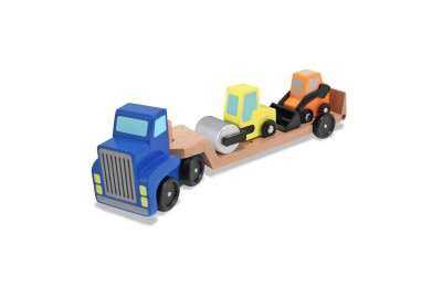cheap Melissa & Doug Low Loader Wooden Vehicle Play Set - 1 Truck With 2 Chunky Construction Vehicles reasonable competitive