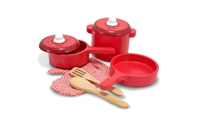 competitive Melissa & Doug Deluxe Wooden Kitchen Accessory Set - Pots & Pans (8pc) reasonable cheap