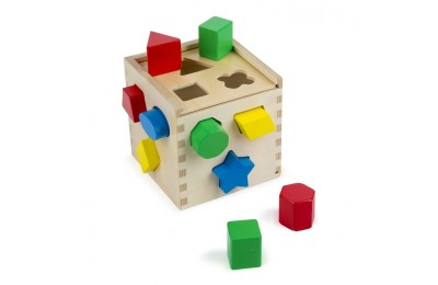 reasonable Melissa & Doug Shape Sorting Cube - Classic Wooden Toy With 12 Shapes competitive cheap