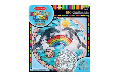 competitive Melissa & Doug Stained Glass Made Easy Craft Kit: Dolphins - 180+ Stickers reasonable cheap