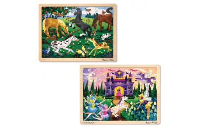 cheap Melissa & Doug Wooden Jigsaw Puzzles Set - Fairy Princess Castle and Horses 2pc reasonable competitive