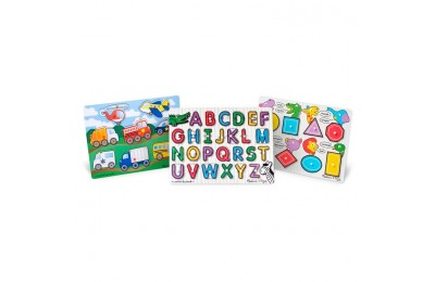 cheap Melissa & Doug Wooden Peg Puzzles Set - Alphabet, Vehicles, and Shapes 42pc competitive reasonable