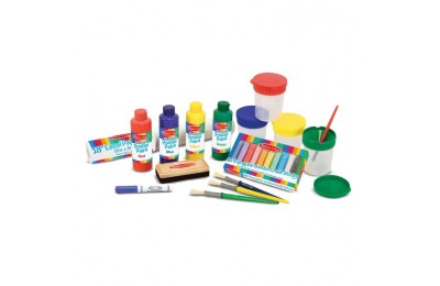 reasonable Melissa & Doug Easel Accessory Set - Paint, Cups, Brushes, Chalk, Paper, Dry-Erase Marker cheap competitive