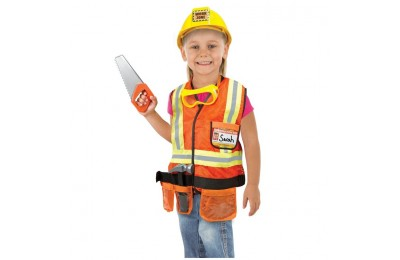 reasonable Melissa & Doug Construction Worker Role Play Costume Dress-Up Set (6pc), Adult Unisex, Size: Large, Gold/Orange/Yellow competitive cheap