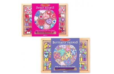reasonable Melissa & Doug Sweet Hearts and Butterfly Friends Bead Set of 2 - 250+ Wooden Beads competitive cheap