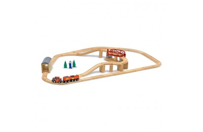 competitive Melissa & Doug Swivel Bridge Wooden Train Set (47pc) cheap reasonable