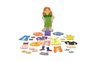 cheap Melissa & Doug Maggie Leigh Magnetic Wooden Dress-Up Doll Pretend Play Set (25+pc) reasonable competitive
