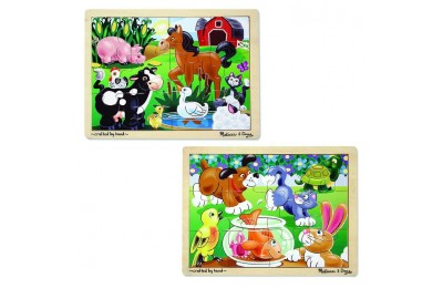 cheap Melissa & Doug Animals Wooden Jigsaw Puzzles Set - Pets and Farm Life (24pc) reasonable competitive