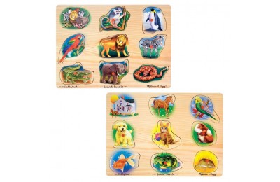 cheap Melissa & Doug Sound Puzzles Set: Pets and Wild Animals Wooden Peg Puzzles 2pc reasonable competitive
