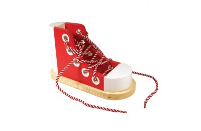 reasonable Melissa & Doug Deluxe Wood Lacing Sneaker - Learn to Tie a Shoe Educational Toy competitive cheap