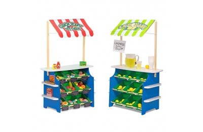 competitive Melissa & Doug Wooden Grocery Store and Lemonade Stand - Reversible Awning, 9 Bins, Chalkboards cheap reasonable