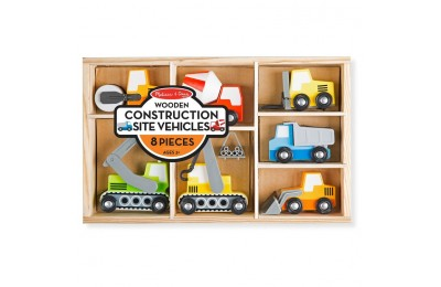 cheap Melissa & Doug Wooden Construction Site Vehicles With Wooden Storage Tray (8pc) competitive reasonable