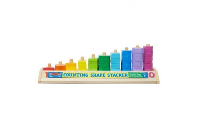 reasonable Melissa & Doug Counting Shape Stacker - Wooden Educational Toy With 55 Shapes and 10 Number Tiles cheap competitive