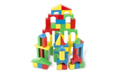 competitive Melissa & Doug Wooden Building Blocks Set - 100 Blocks in 4 Colors and 9 Shapes cheap reasonable
