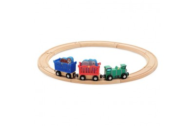 reasonable Melissa & Doug Zoo Animal Wooden Train Set (12+pc) cheap competitive