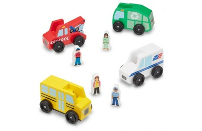 cheap Melissa & Doug Community Vehicles Play Set - Classic Wooden Toy With 4 Vehicles and 4 Play Figures competitive reasonable