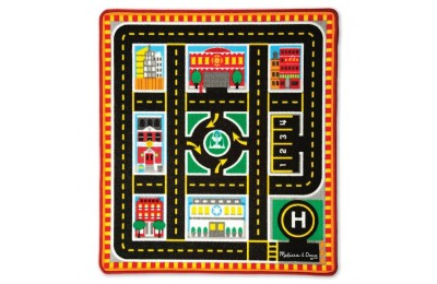 cheap Melissa & Doug Round The City Rescue Rug With 4 Wooden Vehicles (39 x 36 inches) competitive reasonable