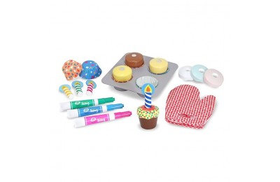 competitive Melissa & Doug Bake and Decorate Wooden Cupcake Play Food Set cheap reasonable