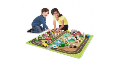 cheap Melissa & Doug Deluxe Activity Road Rug Play Set with 49pc Wooden Vehicles and Play reasonable competitive