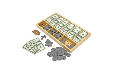 reasonable Melissa & Doug Play Money Set - Educational Toy With Paper Bills and Plastic Coins (50 of each denomination) and Wooden Cash Drawer for Storage cheap competitive