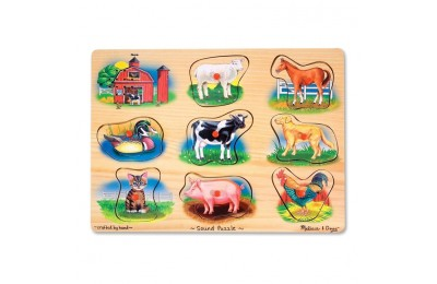 reasonable Melissa And Doug Farm Wooden Peg Sound Puzzle 8pc competitive cheap