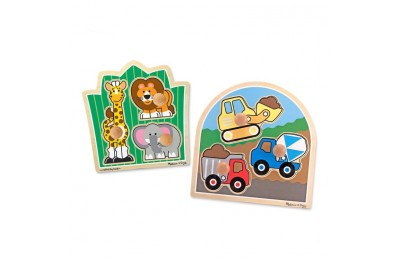 competitive Melissa & Doug Jumbo Knob Wooden Puzzles Set - Construction and Safari 6pc reasonable cheap