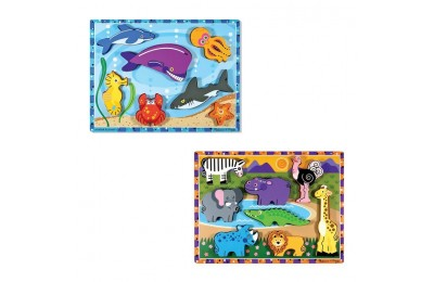 cheap Melissa & Doug Chunky Puzzle 7pc Bundle - Safari & Sea Creatures competitive reasonable