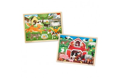 cheap Melissa & Doug Animals Wooden Jigsaw Puzzle Sets - Pets and Farm 24pc each, 48pc reasonable competitive