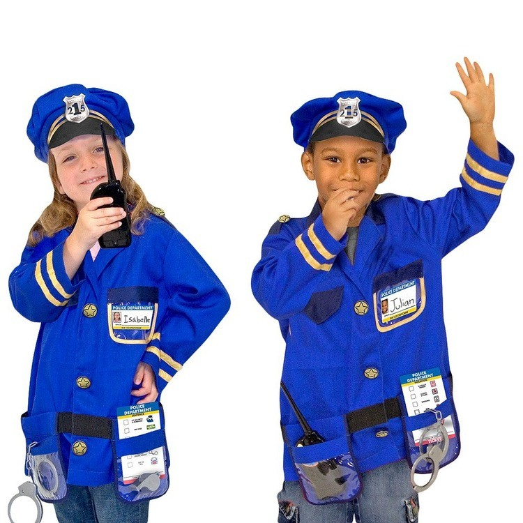 competitive Melissa & Doug Police Officer Role Play Costume Dress-Up Set (8pc), Adult Unisex, Size: Small, Red/Gold reasonable cheap