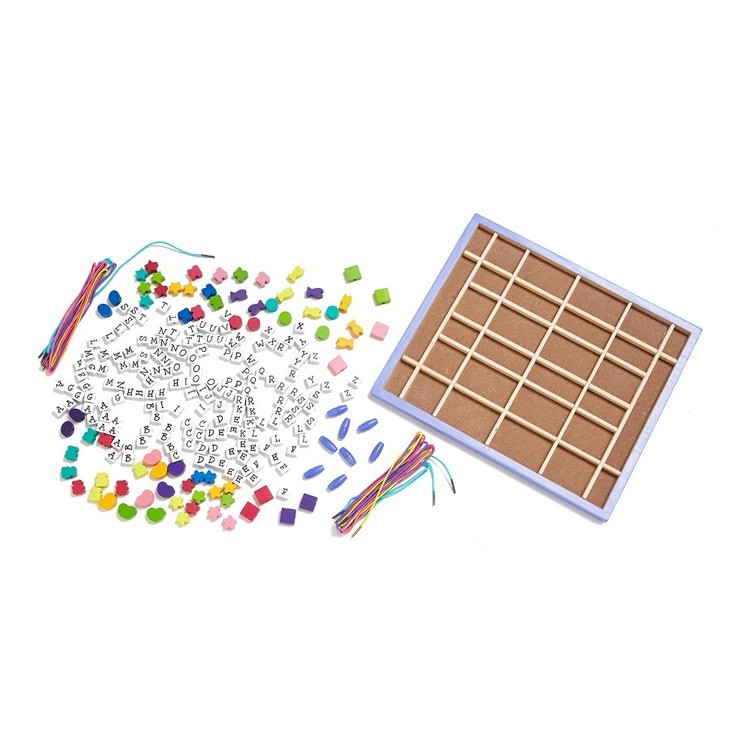 reasonable Melissa & Doug Deluxe Wooden Stringing Beads With 200+ Beads and 8 Laces for Jewelry-Making cheap competitive