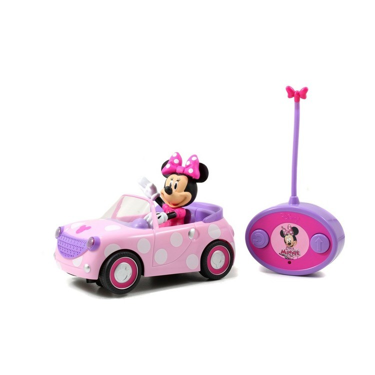 "cheap Jada Toys Disney Junior RC Minnie Bowtique Roadster Remote Control Vehicle 7"" Pink with White Polka Dots competitive reasonable"