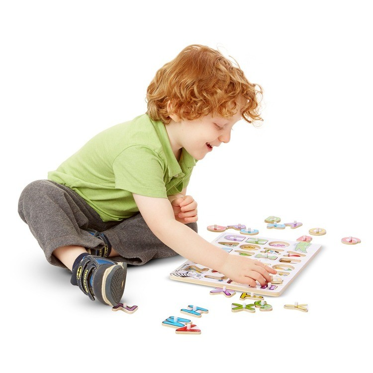 cheap Melissa & Doug Fish Colors, ABC, and Numbers Wooden Mix 'n Match Peg Puzzle Bundle competitive reasonable