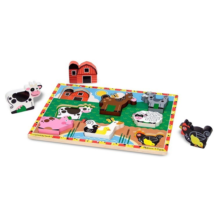 reasonable Melissa & Doug Wooden Chunky Puzzles Set - Farm and Pets 16pc cheap competitive