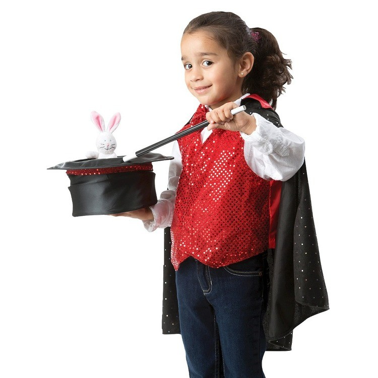 cheap Melissa & Doug Magician Role Play Costume Set - Includes Hat, Cape, Wand, Magic Tricks, Adult Unisex competitive reasonable