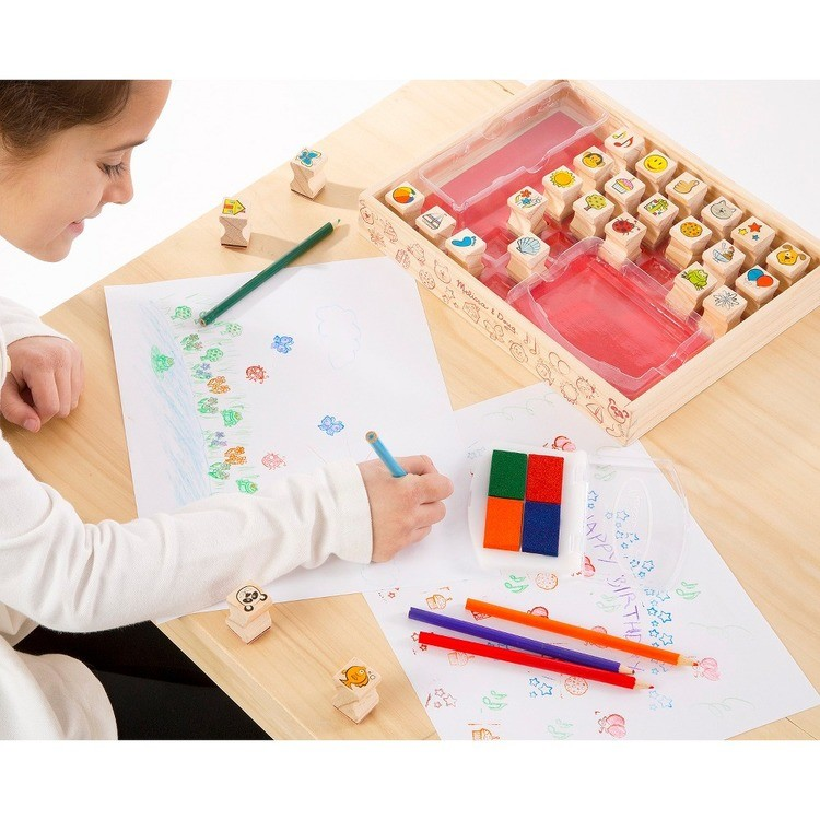 reasonable Melissa & Doug Wooden Stamp Set, Favorite Things - 26 Wooden Stamps, 4-Color Stamp Pad competitive cheap