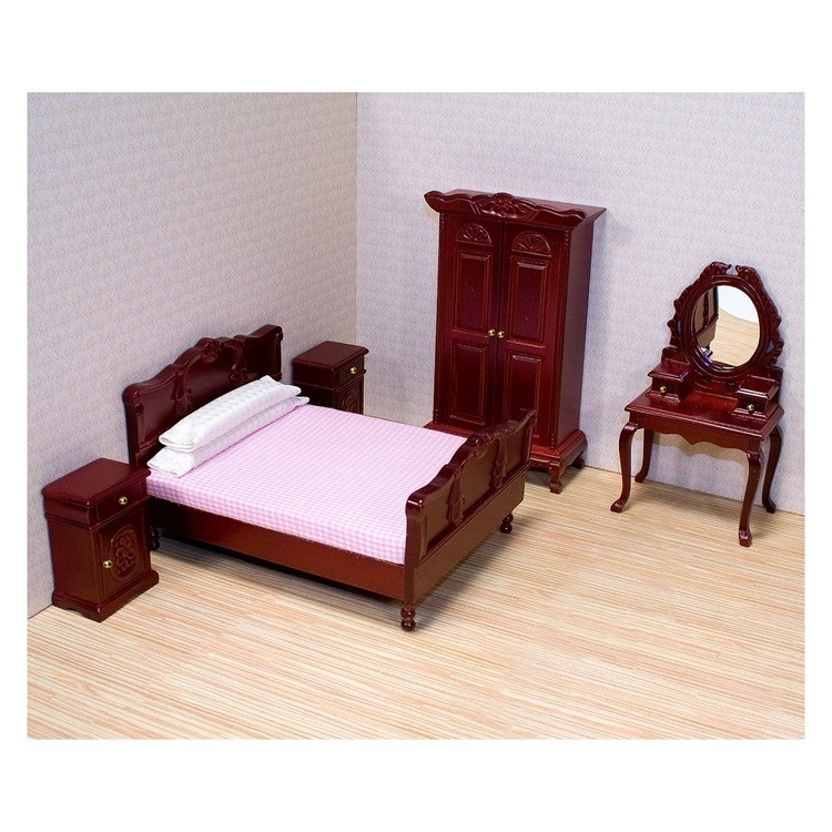 cheap Melissa & Doug Classic Victorian Wooden and Upholstered Dollhouse Bedroom Furniture 6 pc competitive reasonable