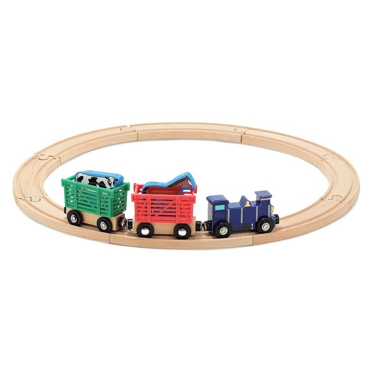 cheap Melissa & Doug Farm Animal Wooden Train Set (12+pc) competitive reasonable