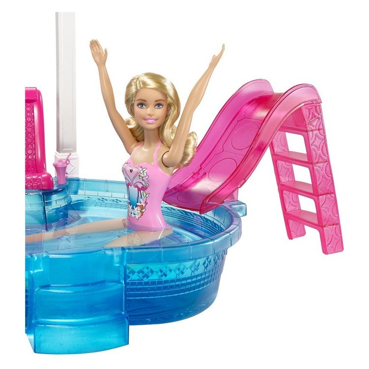 cheap Barbie Glam Pool with Water Slide & Pool Accessories competitive reasonable