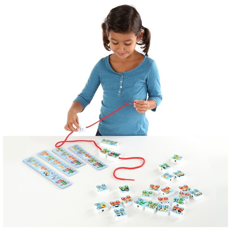 competitive Melissa & Doug Alphabet Train Lacing Beads - 27 Wooden Train Beads, 6 Pattern Cards, and 1 Lace cheap reasonable