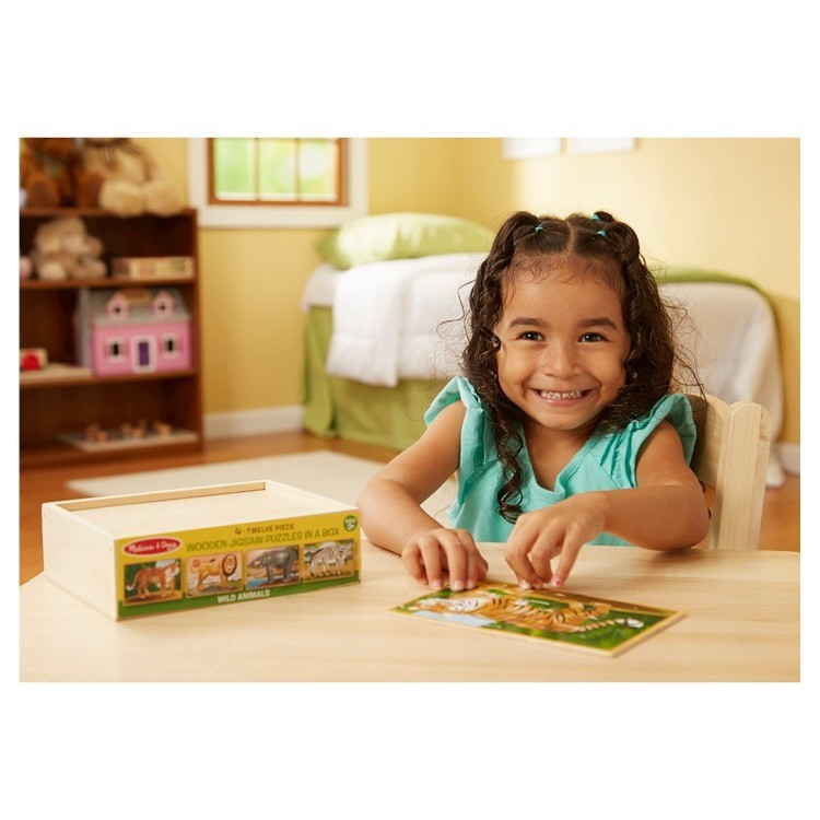 competitive Melissa & Doug Wild Animals 4-in-1 Wooden Jigsaw Puzzles in a Storage Box (48pc) reasonable cheap