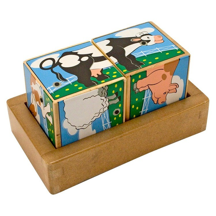 competitive Melissa & Doug Farm Sound Blocks 6-in-1 Puzzle With Wooden Tray cheap reasonable