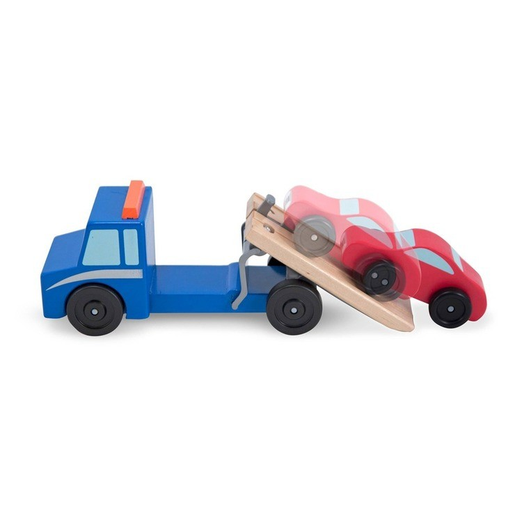 reasonable Melissa & Doug Flatbed Tow Truck Wooden Vehicle Set competitive cheap