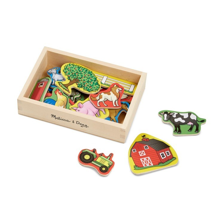 reasonable Melissa & Doug Wooden Farm Magnets with Wooden Tray - 20pc competitive cheap